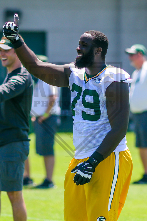Green Bay Packers guard Kofi Amichia (79) during a minicamp practice on June 15, 2017 at Clarke Hinkle Field in Green Bay, Wisconsin.  (Brad Krause/Krause Sports Photography)