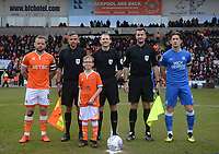 Blackpool's Jay Spearing and Peterborough United's Alex Woodyard with officials Peter Wright, Paul Graham and Richard Woodward and the Blackpool matchday mascot<br /> <br /> Photographer Kevin Barnes/CameraSport<br /> <br /> The EFL Sky Bet League One - Blackpool v Peterborough United - Saturday 13th April 2019 - Bloomfield Road - Blackpool<br /> <br /> World Copyright &copy; 2019 CameraSport. All rights reserved. 43 Linden Ave. Countesthorpe. Leicester. England. LE8 5PG - Tel: +44 (0) 116 277 4147 - admin@camerasport.com - www.camerasport.com