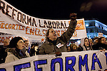 Concentration in the Puerta del Sol of Madrid against the labor reform approved by the spanish government the same morning, in Madrid, Spain 10/02/2012