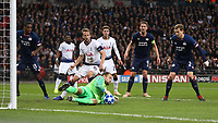 PSV Eindhoven's Jeroen Zoet intercepts the ball before it can get to Tottenham Hotspur's Harry Kane<br /> <br /> Photographer Rob Newell/CameraSport<br /> <br /> UEFA Champions League -Group B - Tottenham Hotspur v PSV Eindhoven - Tuesday 6th November 2018 - Wembley Stadium - London<br />  <br /> World Copyright © 2018 CameraSport. All rights reserved. 43 Linden Ave. Countesthorpe. Leicester. England. LE8 5PG - Tel: +44 (0) 116 277 4147 - admin@camerasport.com - www.camerasport.com