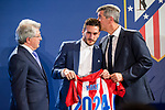 Enrique Cerezo president of Atletico de Madrid,  Koke Resurrecccion of Atletico de Madrid and Miguel Angel Gil Marin during the act of renewal of the contract until 2024 of Koke Resurrecccion  at Vicente Calderon stadium in Madrid, Spain. May 23, 2017. (ALTERPHOTOS/Rodrigo Jimenez)