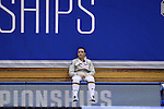DURHAM, NC - FEBRUARY 25: Notre Dame's Claudia Kulmacz retreats to the far side of the court after losing her Women's Saber semifinal match. The Atlantic Coast Conference Fencing Championships were held on February, 25, 2017, at Cameron Indoor Stadium in Durham, NC.
