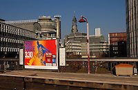 Advertisment on billboard at Baumwell train station..Hamburg, Germany
