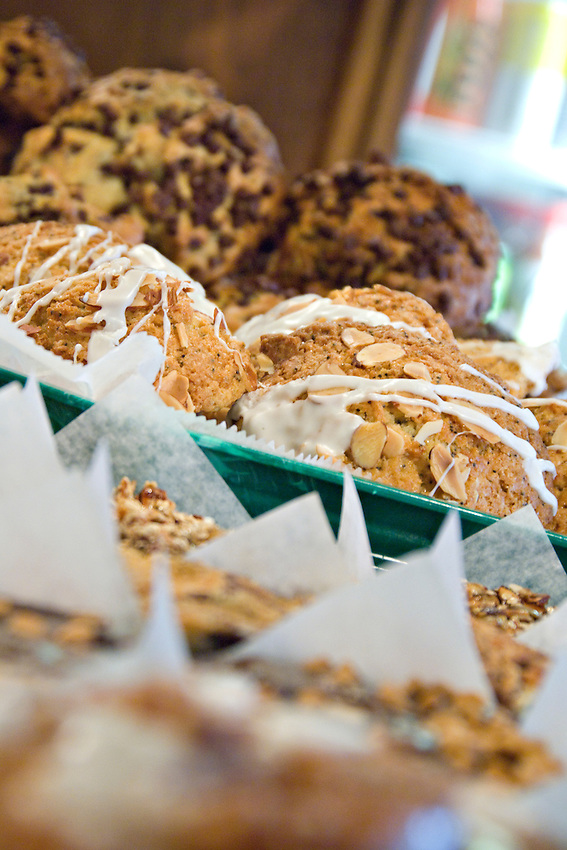 Detail shot of baked goods at Babycakes Muffin Company in downtown Marquette Michigan.