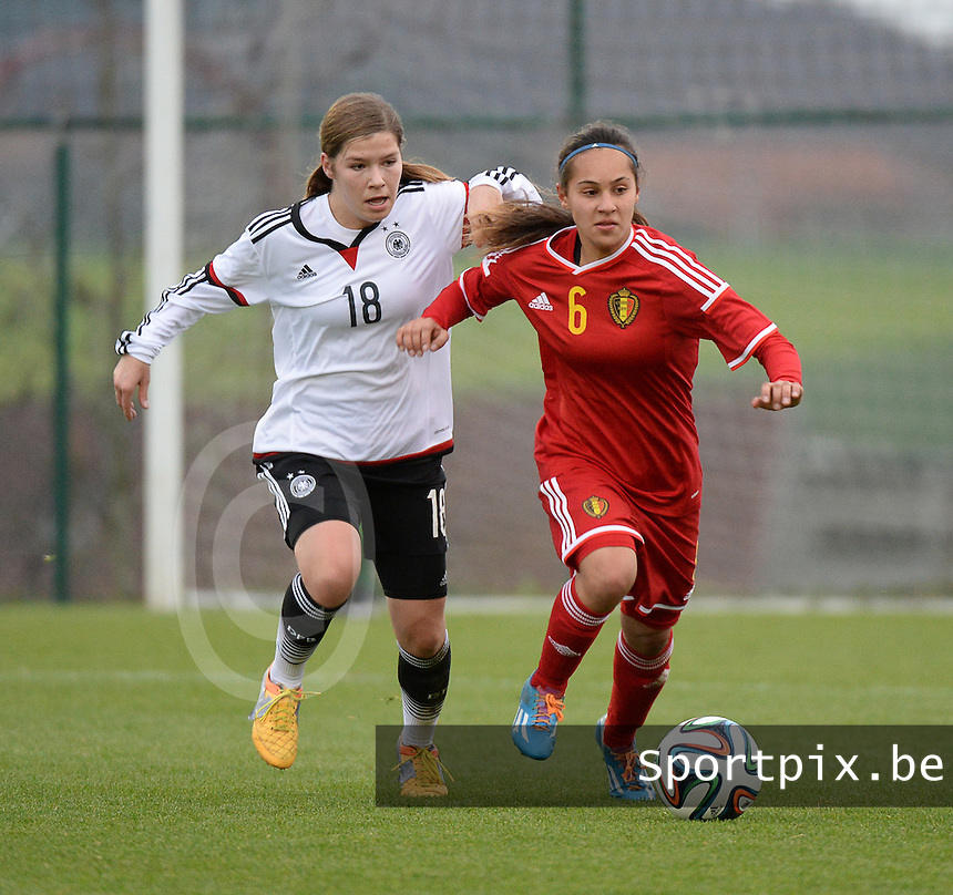 20151128 - Tubize , Belgium : Belgian Anais Bey Tem Samani (R) and German Pauline Berning (L) pictured during the female soccer match between Women under 16 teams of  Belgium and Germany , in Tubize . Saturday 28th November 2015 . PHOTO DIRK VUYLSTEKE
