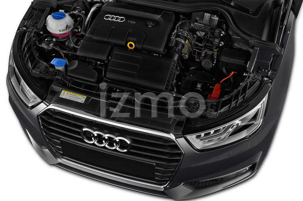 Car Stock 2016 Audi A1 Sport 3 Door Hatchback Engine  high angle detail view