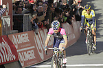 Damiano Cunego (ITA) Lampre-Merida and Roman Kreuziger (CZE) Tinkoff Saxo cross the finish line on Il Campo in Siena at the end of the 2014 Strade Bianche race over the white dusty gravel roads of Tuscany, Italy. 8th March 2014.<br /> Picture: Eoin Clarke www.newsfile.ie