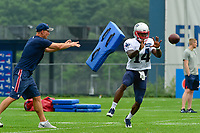 August 3, 2017: New England Patriots wide receiver Brandon Cooks (14) get hit with a cushion thrown by wide receivers coach Chad O'Shea while attempting to make a catch at the New England Patriots training camp held at Gillette Stadium, in Foxborough, Massachusetts. Eric Canha/CSM