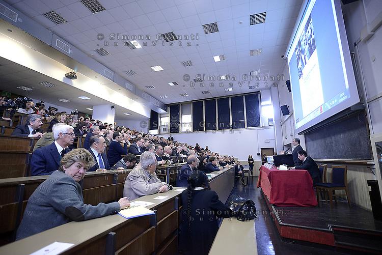 Roma, 27 Marzo 2015.<br /> Susanna Camusso.<br /> Commemorazione di Ezio Tarantelli nel trentesimo anniversario della sua uccisione da parte delle Brigate Rosse.<br /> Università La Sapienza , facoltà di Economia e Commercio.