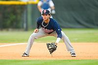 Elizabethton Twins third baseman Javier Pimentel (13) on defense against the Burlington Royals at Burlington Athletic Park on August 11, 2013 in Burlington, North Carolina.  The Twins defeated the Royals 12-5.  (Brian Westerholt/Four Seam Images)