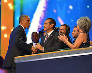 September 6, 2012  (Charlotte, North Carolina) President Barack Obama shakes the hand of Los Angeles Mayor Antonio Villaraigosa on the last night of the 2012 Democratic National Convention In Charlotte.   (Photo by Don Baxter/Media Images International)
