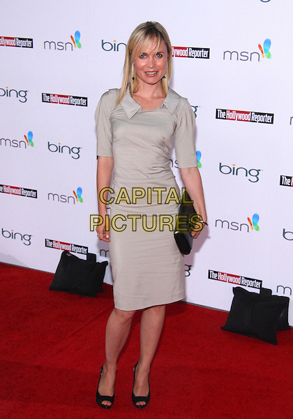 RADHA MITCHELL .The Hollywood  Reporter Honoring Oscar Nominees  held at The Getty House,  Los Angeles, California, USA, 5th March 2010..full length grey gray greige beige dress shirt collar black clutch bag open peep toe shoes .CAP/ADM/TC.©T. Conrad/AdMedia/Capital Pictures.