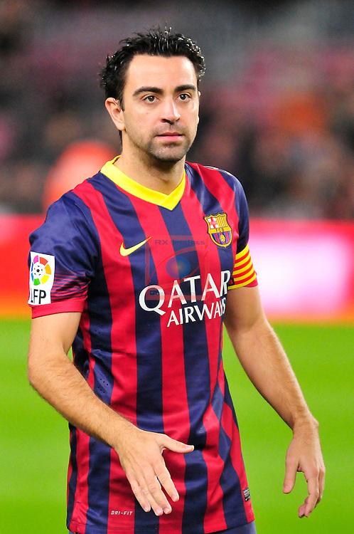 League BBVA 2013/2014 - Game: 21.<br /> FC Barcelona vs Malaga CF: 3-0.<br /> Xavi Hernandez.