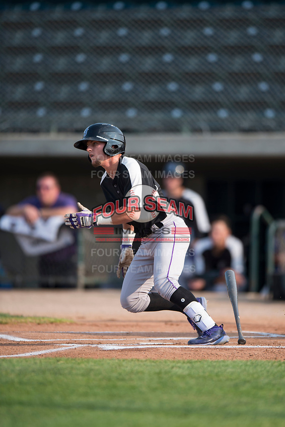 Grand Junction Rockies second baseman Hunter Stovall (1) starts down the first base line during a Pioneer League game against the Missoula Osprey at Ogren Park Allegiance Field on August 21, 2018 in Missoula, Montana. The Missoula Osprey defeated the Grand Junction Rockies by a score of 2-1. (Zachary Lucy/Four Seam Images)
