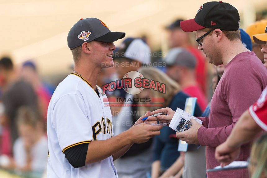AFL West shortstop relief pitcher Blake Weiman (55), of the Surprise Saguaros and Pittsburgh Pirates organization, signs an autograph before the Arizona Fall League Fall Stars game at Surprise Stadium on November 3, 2018 in Surprise, Arizona. The AFL West defeated the AFL East 7-6 . (Zachary Lucy/Four Seam Images)