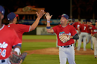 Fort Myers Miracle Royce Lewis (1) high fives Luis Ramirez (19) after a Florida State League game against the Bradenton Marauders on April 23, 2019 at LECOM Park in Bradenton, Florida.  Fort Myers defeated Bradenton 2-1.  (Mike Janes/Four Seam Images)