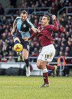 Paul Hayes of Wycombe Wanderers and Rod McDonald of Northampton Town during the Sky Bet League 2 match between Northampton Town and Wycombe Wanderers at Sixfields Stadium, Northampton, England on the 20th February 2016. Photo by Liam McAvoy.