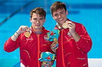 Picture by Alex Whitehead/SWpix.com - 13/04/2018 - Commonwealth Games - Diving - Optus Aquatics Centre, Gold Coast, Australia - Tom Daley and Dan Goodfellow of England win Gold in the Men's Synchronised 10m Platform Final.