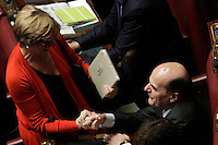 Pier Luigi Bersani e Roberta Pinotti<br /> Roma 25-02-2014 Camera. Voto di fiducia al nuovo Governo.<br /> Senate. Trust vote for the new Government.<br /> Photo Samantha Zucchi Insidefoto