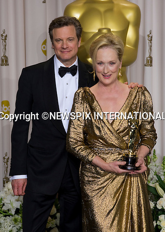 """MERYL STREEP AND COLIN FIRTH.Meryl Streep winner of the Best Actress Award with Colin Firth who made the presentation to her at the 84th Academy Awards, Kodak Theatre, Hollywood, Los Angeles_26/02/2012.Mandatory Photo Credit: ©Dias/Newspix International..**ALL FEES PAYABLE TO: """"NEWSPIX INTERNATIONAL""""**..PHOTO CREDIT MANDATORY!!: NEWSPIX INTERNATIONAL(Failure to credit will incur a surcharge of 100% of reproduction fees)..IMMEDIATE CONFIRMATION OF USAGE REQUIRED:.Newspix International, 31 Chinnery Hill, Bishop's Stortford, ENGLAND CM23 3PS.Tel:+441279 324672  ; Fax: +441279656877.Mobile:  0777568 1153.e-mail: info@newspixinternational.co.uk"""