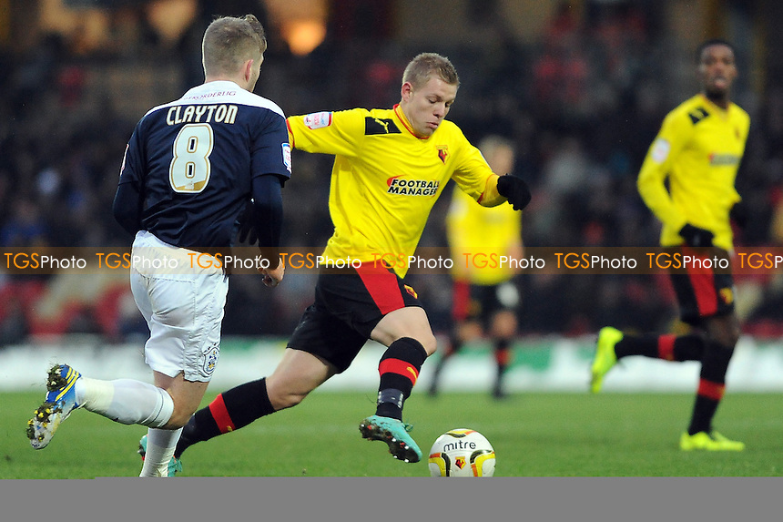 Matej Vydra of Watford en route to goal but can't finish - Watford vs Huddersfield Town - NPower Championship Football at Vicarage Road Stadium, Watford - 19/01/13 - MANDATORY CREDIT: Anne-Marie Sanderson/TGSPHOTO - Self billing applies where appropriate - 0845 094 6026 - contact@tgsphoto.co.uk - NO UNPAID USE.