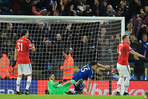 23rd December 2017, King Power Stadium, Leicester, England; EPL Premier League Football, Leicester City versus Manchester United; Harry Maguire of Leicester City reacts as he scores a last minute equalizer making it 2-2