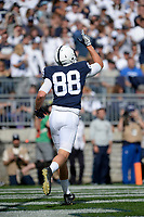 STATE COLLEGE, PA - SEPTEMBER 09:  Penn State TE Mike Gesicki (88) points his finger to the sky after his second touchdown of the game. The Penn State Nittany Lions defeated the Pittsburgh Panthers 33-14 in the Keystone Classic September 9, 2017 at Beaver Stadium in State College, PA. (Photo by Randy Litzinger/Icon Sportswire)