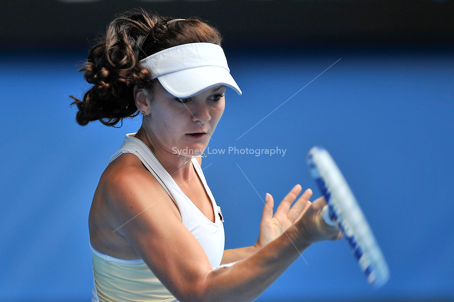 MELBOURNE, 26 JANUARY - Agnieszka Radwanska (POL) in action during her quarter final match against Kim Clijsters (BEL) on day ten of the 2011 Australian Open at Melbourne Park, Australia. (Photo Sydney Low / syd-low.com)