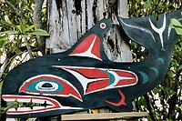 Orca sign, Orcinus orca, Sekiu, Washington, USA