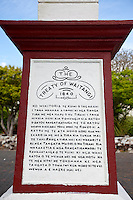 Monument to Commemorate the Signing of the Treaty of Waitangi, 1840, which establioshed British rule over New Zealand.  The inscription is in the Maori language of the north island.  Paihia, north island, New Zealand.