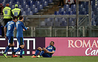 Calcio, Serie A: Roma, stadio Olimpico, 19 marzo, 2017<br /> Sassuolo's Grégoire Defrel (r) celebrates with his teammates Lorenzo Pellegrini (l) and Simone Missiroli (c) after scoring during the Italian Serie A football match between Roma and Sassuolo at Rome's Olympic stadium, March 19, 2017<br /> UPDATE IMAGES PRESS/Isabella Bonotto