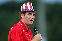 Kannapolis Intimidators Director of Communications Josh Feldman emcees a contest on the field between innings of the game against the Delmarva Shorebirds at Kannapolis Intimidators Stadium on July 3, 2017 in Kannapolis, North Carolina.  The Shorebirds defeated the Intimidators 5-2.  (Brian Westerholt/Four Seam Images)
