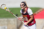 Los Angeles, CA 04/22/16 - Kaitlyn Couture (USC #18) in action during the NCAA Stanford-USC Division 1 women lacrosse game at the Los Angeles Memorial Coliseum.  USC defeated Stanford 10-9/