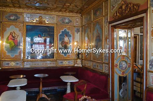 Venice Italy 2009. Florian Tea Room interior  Saint Marks Square  Piazza San Marco.
