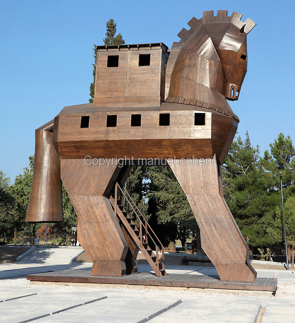Wooden model of the Trojan Horse built by the Turkish government in Troy, Turkey. Troy was a city, both factual and legendary, in northwest Anatolia in what is now Turkey. The original Trojan horse was said to be used by the Greeks to capture the city of Troy from the Trojans during the Trojan War. Greek soldiers hid inside the body of the horse which was pulled into the besieged city by the Trojans, who believed the Greeks to have retreated. Picture by Manuel Cohen