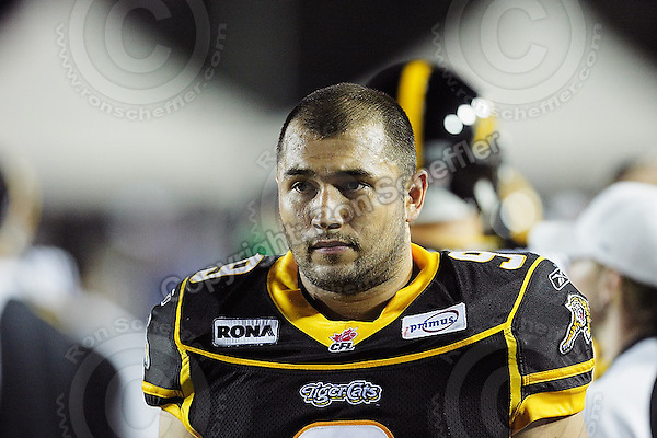 June 26, 2008; Hamilton, ON, CAN; Hamilton Tiger-Cats defensive end Nautyn McKay-Loescher (9). CFL football - Montreal Alouettes defeated the Hamilton Tiger-Cats 33-10 at Ivor Wynne Stadium. Mandatory Credit: Ron Scheffler-www.ronscheffler.com. Copyright (c) Ron Scheffler