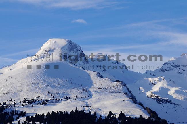 Schweizer Berge, Alvier Kette, im Rheintal des Kanton St. Gallen von Schaan aus gesehen. Swiss mountains Alvier masif in the Rhine Valley seen from Schaan, Liechtenstein. Alvier 2343m