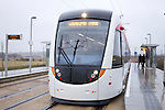 To mark the handover of the first completed section of the tram route from the contractor to the City of Edinburgh Council, Transport Minister Keith Brown MSP and Edinburgh's Transport Convener, Councillor Lesley Hinds journey by tram from Ingliston Park and Ride to Edinburgh Airport...(c) Malcolm McCurrach | New Wave Images UK