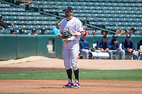 Kyle Kubitza (10) of the Salt Lake Bees on defense against the Reno Aces in Pacific Coast League action at Smith's Ballpark on May 10, 2015 in Salt Lake City, Utah.  Salt Lake defeated Reno 9-2 in Game One of the double-header. (Stephen Smith/Four Seam Images)