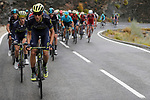 The peloton led by Orica-Scott climb during Stage 11 of the 2017 La Vuelta, running 187.5km from Lorca to Observatorio Astron&oacute;mico de Calar Alto, Spain. 30th August 2017.<br /> Picture: Unipublic/&copy;photogomezsport | Cyclefile<br /> <br /> <br /> All photos usage must carry mandatory copyright credit (&copy; Cyclefile | Unipublic/&copy;photogomezsport)
