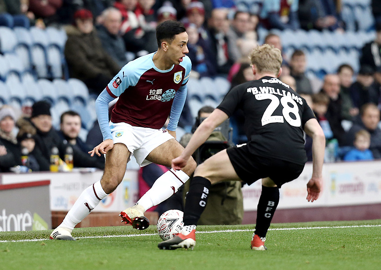 Burnley's Dwight McNeil under pressure from Barnsley's Ben Williams<br /> <br /> Photographer Rich Linley/CameraSport<br /> <br /> Emirates FA Cup Third Round - Burnley v Barnsley - Saturday 5th January 2019 - Turf Moor - Burnley<br />  <br /> World Copyright © 2019 CameraSport. All rights reserved. 43 Linden Ave. Countesthorpe. Leicester. England. LE8 5PG - Tel: +44 (0) 116 277 4147 - admin@camerasport.com - www.camerasport.com