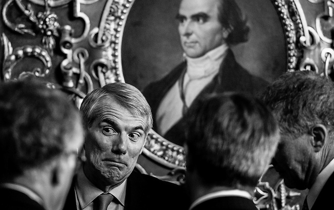 Sen. Rob Portman, R-Ohio, speaks with reporters in the Senate Reception Room on Thursday, July 18,  2013.