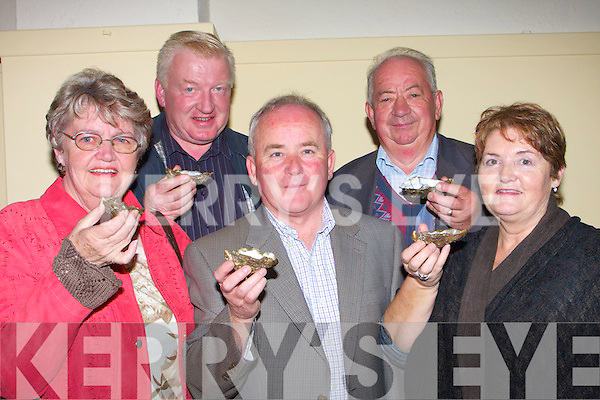 OYSTERS: Enjoying the tast of their oysters at the Ballylongford Oyster Festival on Saturday night. L-r: Noreen Buckley, Pat O'Connor, Noel Lynch,Toddy Buckley and Mary O'Connor(Listowel)..   Copyright Kerry's Eye 2008