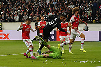 Torwart Emiliano Martinez (Arsenal London) hält gegen  Andre Silva (Eintracht Frankfurt) - 19.09.2019:  Eintracht Frankfurt vs. Arsenal London, UEFA Europa League, Gruppenphase, Commerzbank Arena<br /> DISCLAIMER: DFL regulations prohibit any use of photographs as image sequences and/or quasi-video.