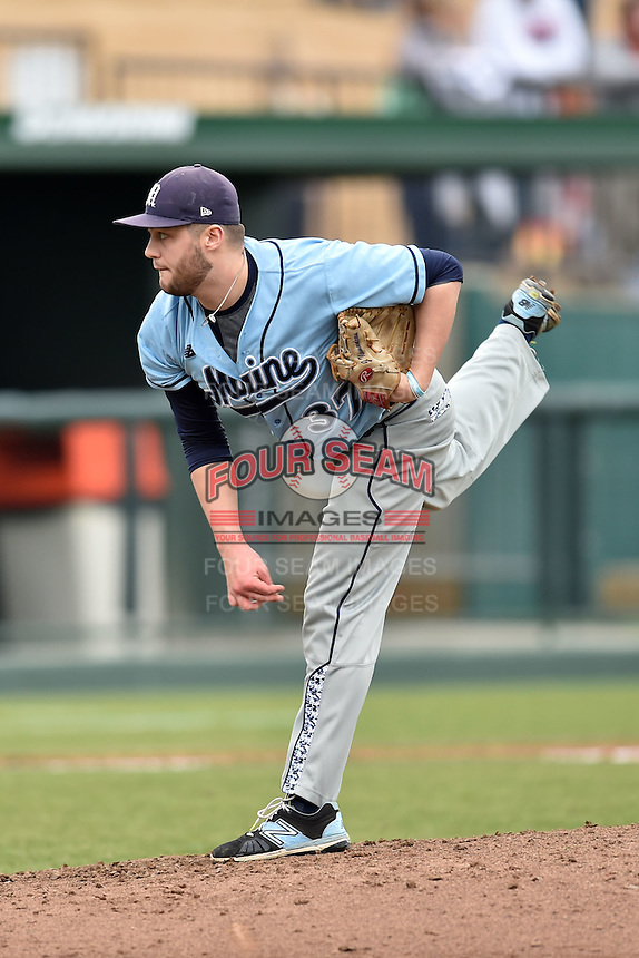 Main Black Bears pitcher Jonah Normandeau (37) delivers a pitch during a game against the Clemson Tigers at Doug Kingsmore Stadium on February 20, 2016 in Clemson, South Carolina. The Tigers defeated the Black Bears 9-4. (Tony Farlow/Four Seam Images)