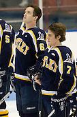 Trent Bonnett (Bentley - 6), Erik Peterson (Bentley - 7) - The Northeastern University Huskies defeated the Bentley University Falcons 3-2 on Friday, October 16, 2009, at Matthews Arena in Boston, Massachusetts.