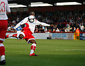 Yemi Odubade of Stevenage Borough fires in a shot which leads to Charlie Griffin's second goal during the Blue Square Premier match between Stevenage Borough and Hayes and Yeading United at the Lamex Stadium, Broadhall Way, Stevenage on 10th October, 2009..© Kevin Coleman 2009 .