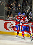 11 November 2008:  Montreal Canadiens' left wing forward Christopher Higgins (left) is congratulated by teammate Josh Gorges after scoring a shorthanded goal in the first period, the first of his three for the evening against the Ottawa Senators at the Bell Centre in Montreal, Quebec, Canada. The Canadiens shut out the visiting Senators 4-0 with Higgins being named first star of the game. ***Editorial Sales Only***..Mandatory Photo Credit: Ed Wolfstein Photo *** Editorial Sales through Icon Sports Media *** www.iconsportsmedia.com