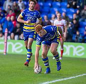 9th February 2019, Halliwell Jones Stadium, Warrington, England; Betfred Super League rugby, Warrington Wolves versus Hull KR; Harvey Livett scores for Warrington