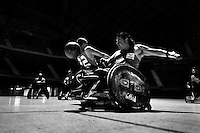 Cristian Amaya and Moises Alonso, Colombian disabled athletes, fight for the ball during a wheelchair rugby training match at the indoor sporting arena Coliseo in Bogota, Colombia, 29 January 2013. Wheelchair rugby, a full-contact team sport, was developed in Canada in 1977 under the name murderball. The game is played only by athletes with some form of disability in both the upper and lower limbs (quadriplegics). Attempting to score by carrying the ball across the goal line, four players from each team roughly crash into each other in specially designed armored wheelchairs. Although the team from Bogota is supported by a foundation (gear), quad rugby players, mostly coming from the remote, socially deprived neighbourhoods, often can not attend a training due to lack of funds for transportation. However, they still dream of representing Colombia at Rio 2016 Paralympic Games.